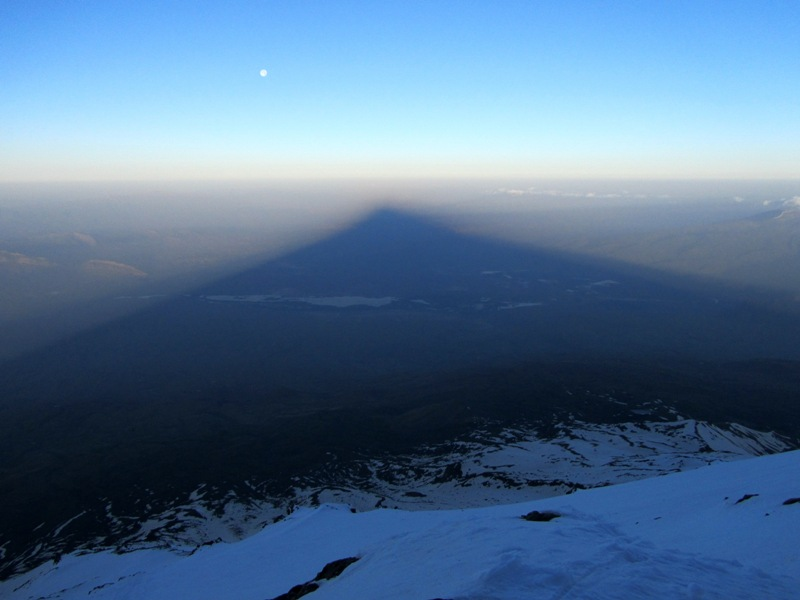 Full moon setting in shadow of Mount Ararat