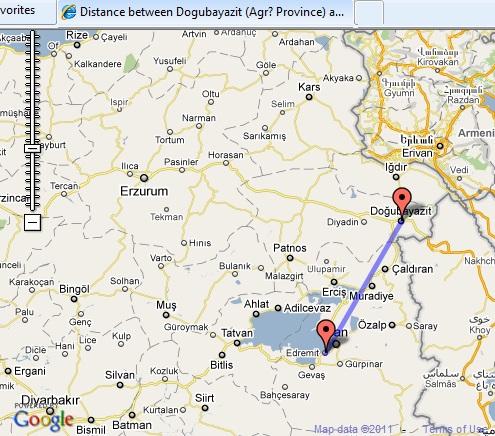 Map of Turkey distance between cities in Turkey