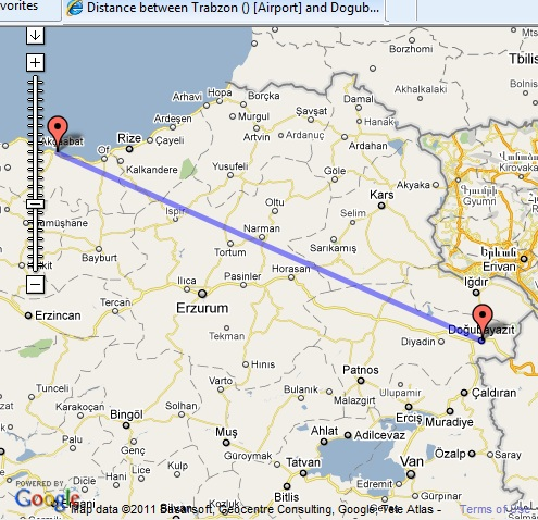 Map of Turkey distance between cities in Turkey